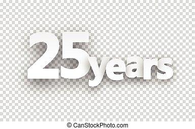 vinte, sinal., papel, cinco, anos