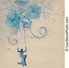 vinter, abstrakt, kvinna, silhuett, retro, illustration