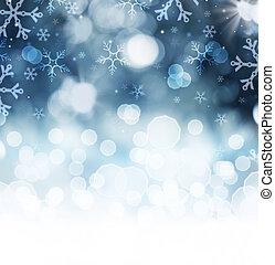 vinter, abstrakt, snö, bakgrund., helgdag, jul, bakgrund