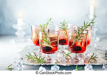 vinter, bär, cocktailer