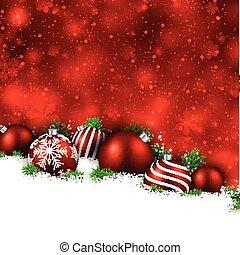 vinter, bakgrund, jul, balls., röd
