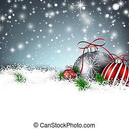 vinter, bakgrund, med, jul, balls.
