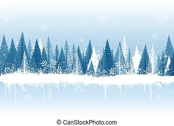 vinter, bakgrund, skog
