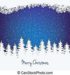 vinter, bakgrund, träd, stjärnor, och, snö