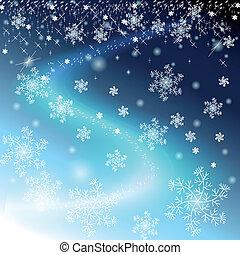 vinter, blåttsky, med, snöflingor, och, stjärnor