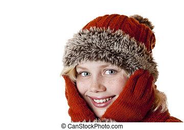 vinter, cap, unge, lys, pige, gloves.
