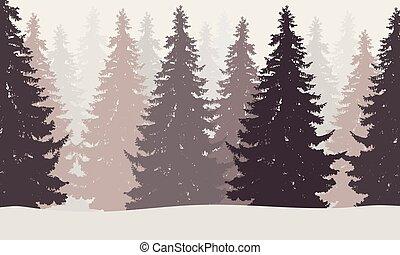 vinter, dimma, snö, illustration, vektor, skog