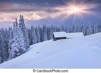 vinter, färgrik, sky., dramatisk, fjäll., soluppgång