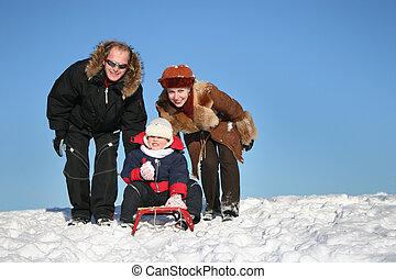 vinter, familj, släde
