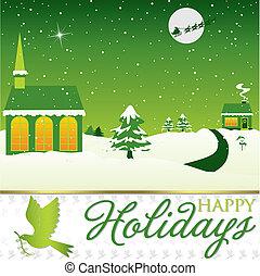 vinter, format., scene, vektor, card christmas