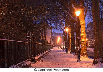vinter, georgiansk, scen, snö, traditionell, hus, nightime