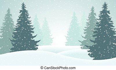 vinter, hälsning, illustration, snö, vektor, mist, skog, suitable, kort