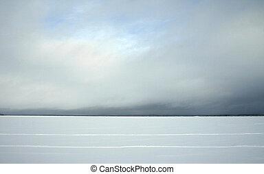 vinter, insjö, horisont