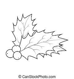 vinter, isoleret, blade, silhuet, illustration, symbol, baggrund., vektor, berry, frugter, ikon, kristjørn, hvid christmas, design.