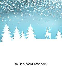 vinter, jul, forest., bakgrund., deer., fe, vit, landskap