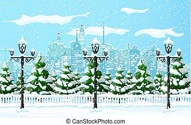 vinter, jul, snöflingor, träd, stadsbild