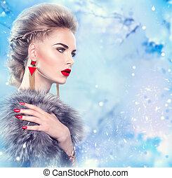 vinter, kvinde, ind, luksus, pels coat