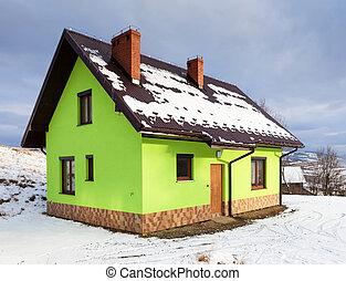 vinter, landskap, hus