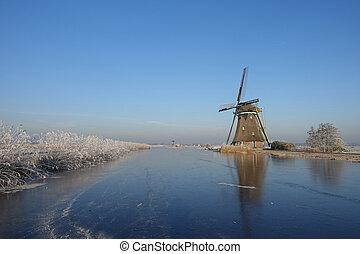 vinter landskap, in, den, nederländerna, med, väderkvarn, och, is