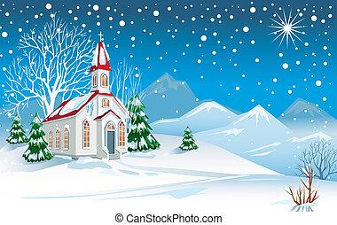 vinter landskap, med, kyrka