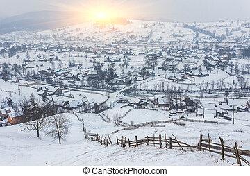 vinter landskap, med, snö, in, mountains
