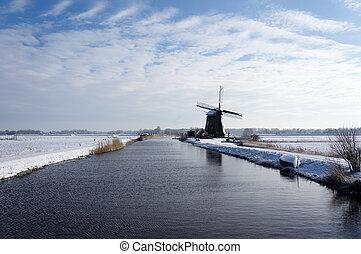 vinter landskap, nederländerna