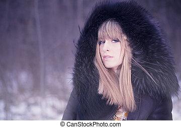 vinter, mode, stående