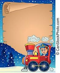 vinter, pergament, hos, lokomotiv