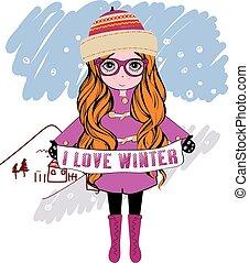 vinter, pige, vektor, illustration