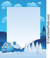 vinter, ramme, hos, lille, landsby