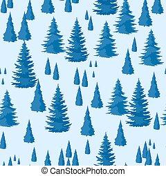 vinter, seamless, pattern., landskap, med, gran, skog
