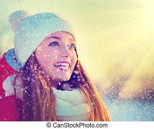 vinter, skönhet, parkera, nöje, flicka, ha