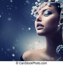 vinter, skønhed, woman., jul, pige, makeup