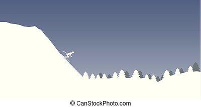 vinter, skog, sport, skida, bakgrund, landskap, snöig