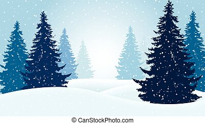 vinter, snö, illustration, vektor, mist, skog, suitable, julkort