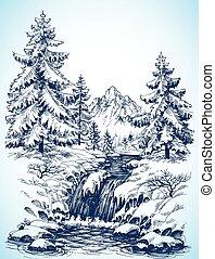 vinter, snöig, landskap
