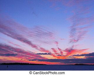 vinter, solnedgång, över, frusen, baltic hav, in, finland