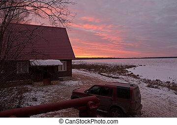 vinter, soluppgång