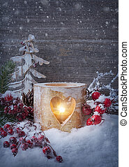 vinter, stearinljus