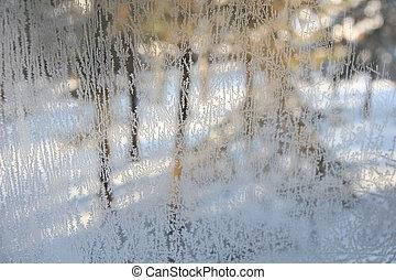 vinter, synhåll, genom, frostskadat, fönster, glas.