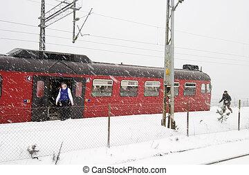 vinter, tog station