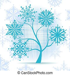 vinter träd, snowflakes., jul