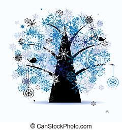 vinter träd, snowflakes., jul, holiday.