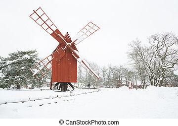 vinter, väderkvarn, landskap