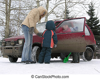 vinter, vogn familie