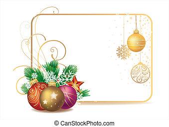 vintergrön, prydnad, jul, f