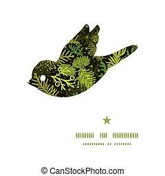 vintergrön, silhuett, mönster, ram, träd, jul, vektor, fågel
