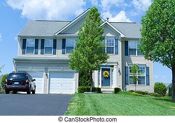 vinyl, épület, külvárosi, egyes család, md, otthon, mellékvágány