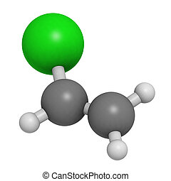 Vinyl chloride, polyvinyl chloride (PVC) plastic building block. Atoms are represented as spheres with conventional color coding: hydrogen (white), carbon (grey), chlorine (green).