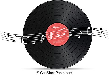 Vinyl disc and music note wave. Vector music design element.